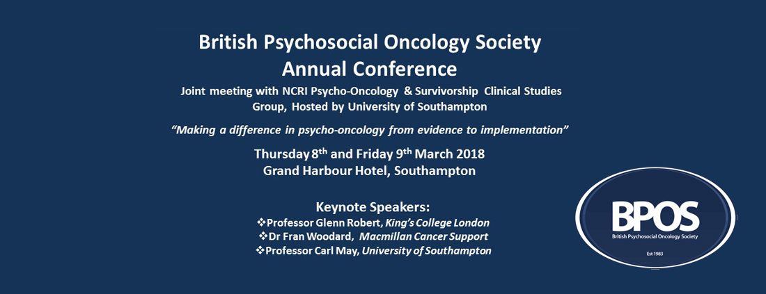 8 March 2018 - British Psychosocial Oncology Society Annual Conference